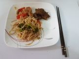 Chicken Beef Chow Mien plated