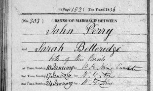 John PERRY & Sarah BETTERIDGE, marriage -2