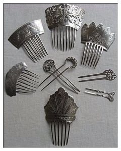 Antique silver hair combs southerbellekari