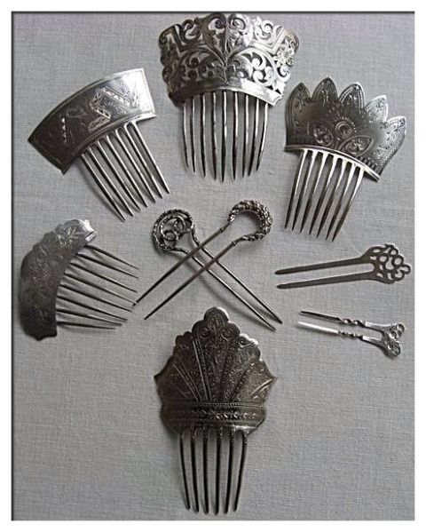 Antique silver hair combs southerbellekari