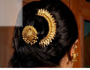 Gold hair pin with gold head