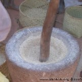 Pounding stone for rice or curry powders