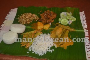 Roce food on banana leaf